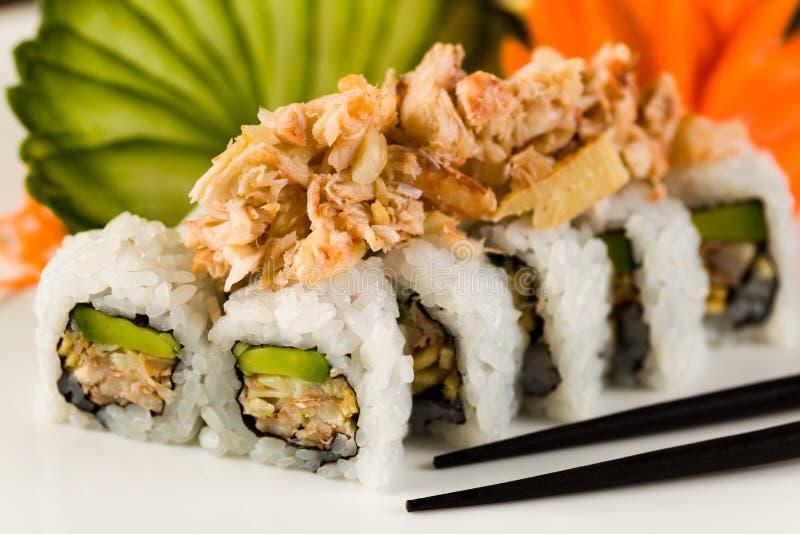 Petit pain de crabe de sushi photographie stock libre de droits