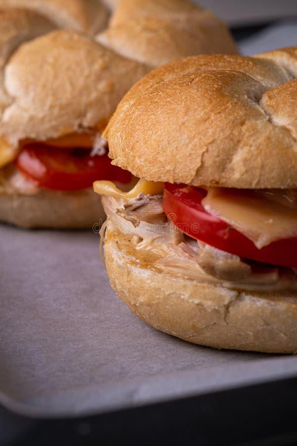 Petit pain de pain fait maison de petit pain de pain de Vienne Kaiser de l'hamburger deux avec la mayonnaise de moutarde de tomat photographie stock libre de droits