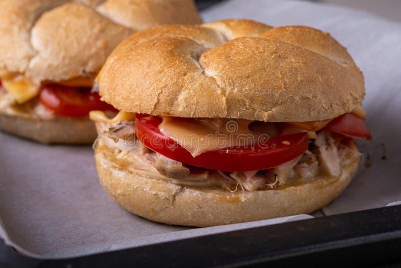 Petit pain de pain fait maison de petit pain de pain de Vienne Kaiser de l'hamburger deux avec la mayonnaise de moutarde de tomat images stock