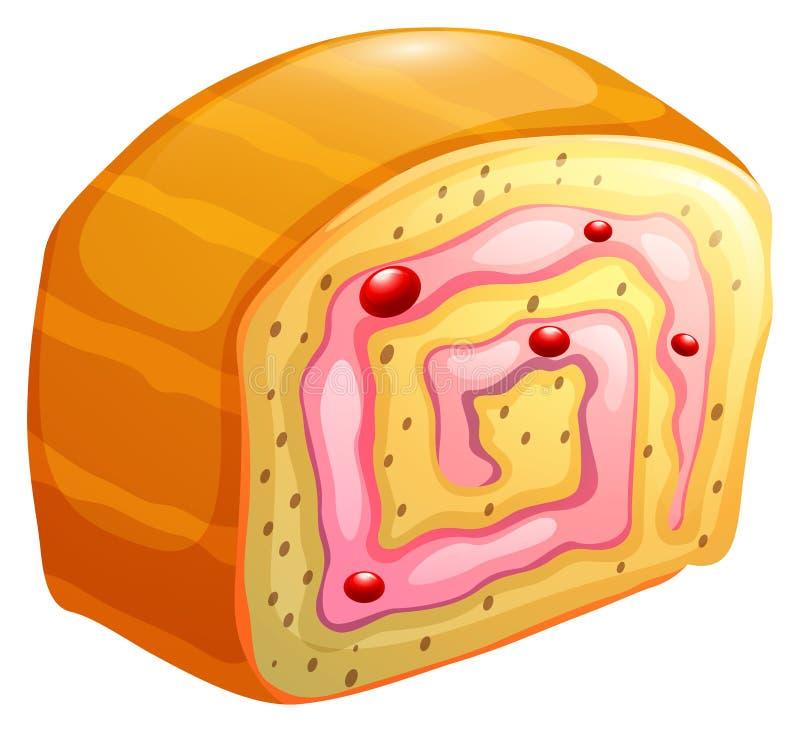 Petit pain de gâteau avec de la crème redbean illustration libre de droits