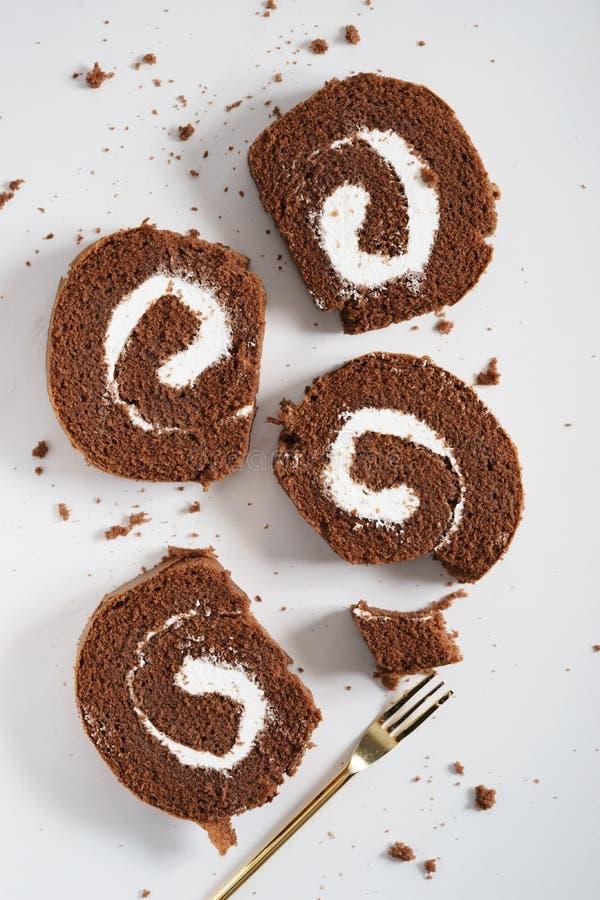 Petit pain de gâteau de chocolat images libres de droits