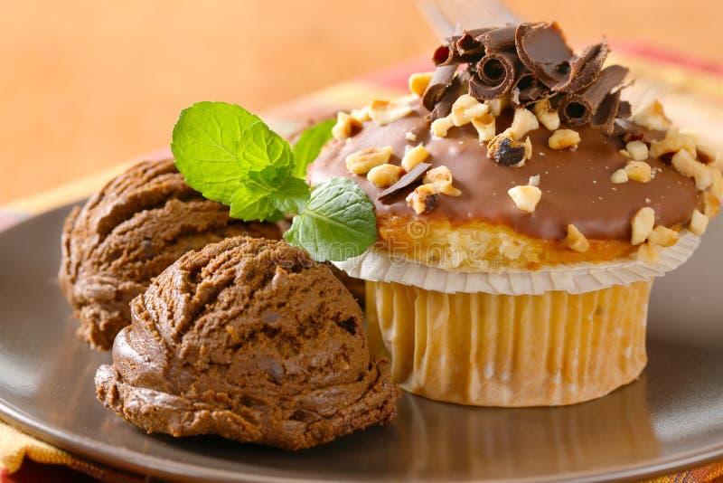 Petit pain de noisette et crème glacée de chocolat photographie stock libre de droits