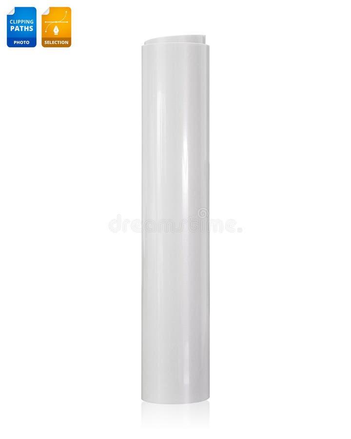 Petit pain de papier blanc d'isolement sur le fond blanc Papier brillant d'autocollant pour des affaires de conception Objet de c images stock
