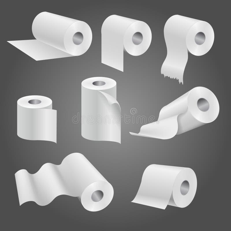 Petit pain de papier hygiénique, ensemble mol blanc de vecteur de serviettes de cuisine illustration stock