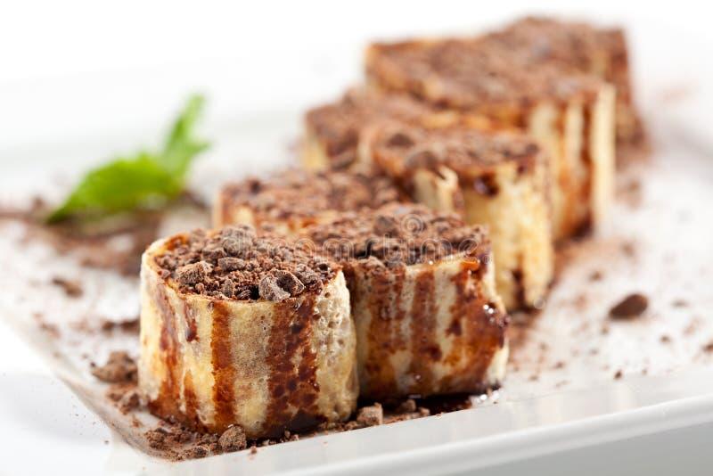 Petit pain de sushi de chocolat images libres de droits