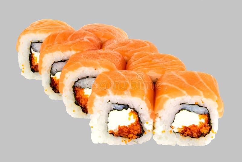Petit pain de sushi de Philadelphie Maxi Cheese Salmon Masago Caviar photo stock