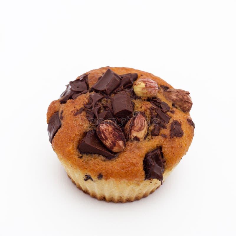 Petit pain doux avec du chocolat et la noisette photo stock
