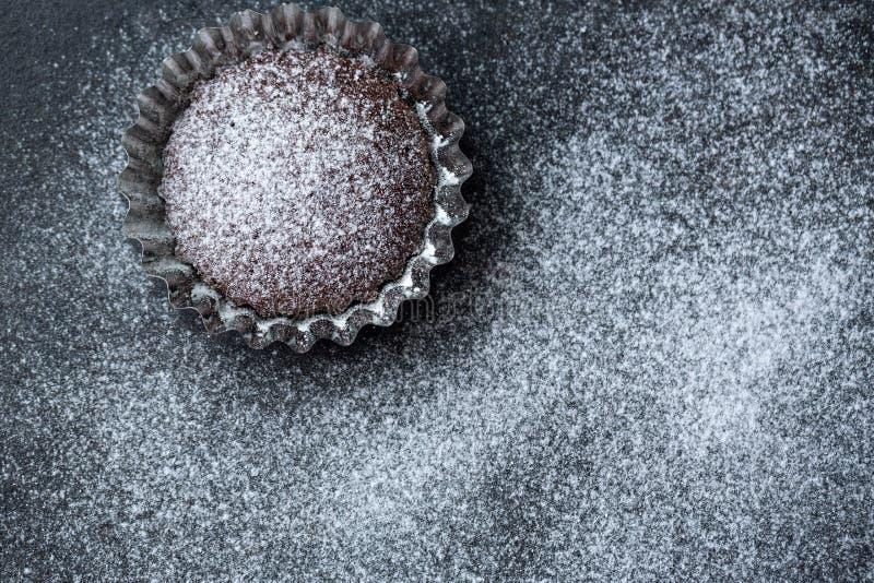 Petit pain frais de chocolat de Noël avec du sucre en poudre photographie stock