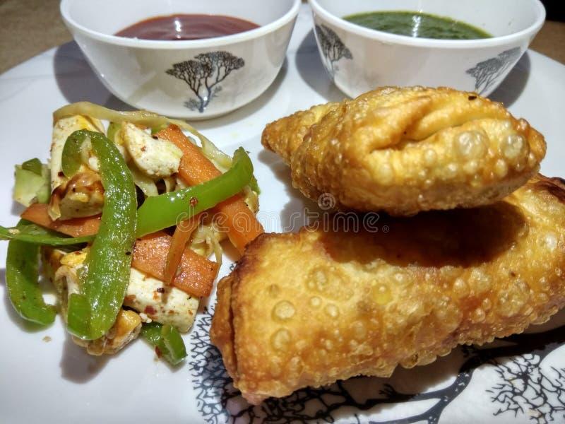 Petit pain indien de paneer de casse-croûte avec le souce vert et rouge et la salade frite image libre de droits