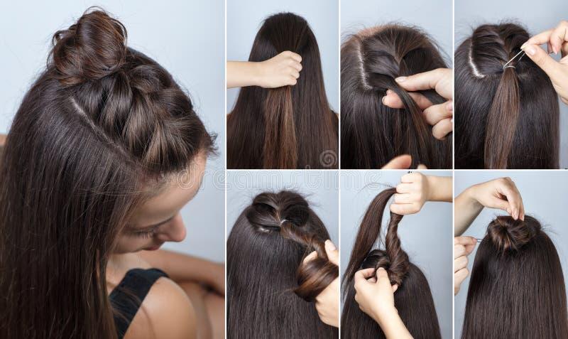 Petit pain moderne de coiffure avec le cours de tresse image libre de droits