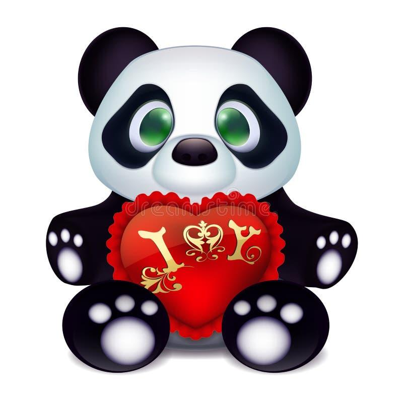 Petit panda mignon dans l'amour avec un coeur rouge de cadeau d'oreiller de velours et une déclaration de l'amour illustration libre de droits