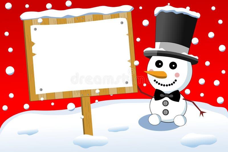 Petit panneau mignon de signe de bonhomme de neige et de Noël illustration libre de droits