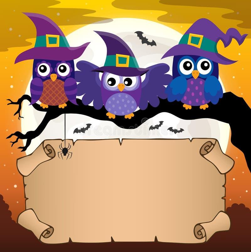 Petit parchemin avec des hiboux de Halloween illustration stock