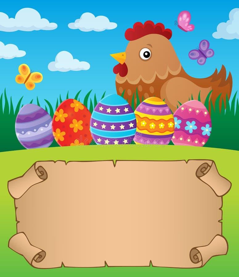 Petit parchemin avec la poule 1 de Pâques illustration de vecteur