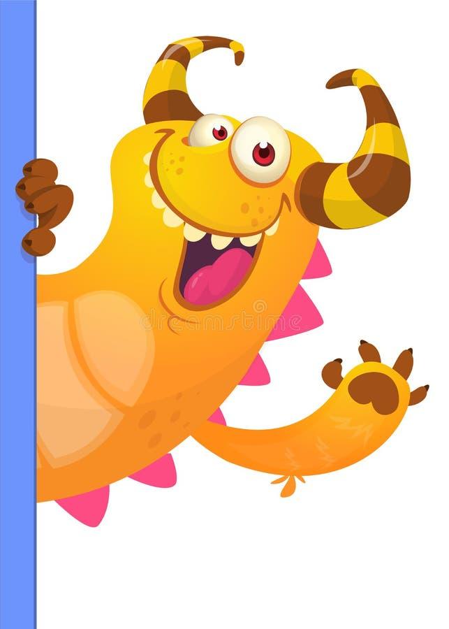 Petit personnage de dessin animé mignon de monstre tenant un signe vide illustration libre de droits