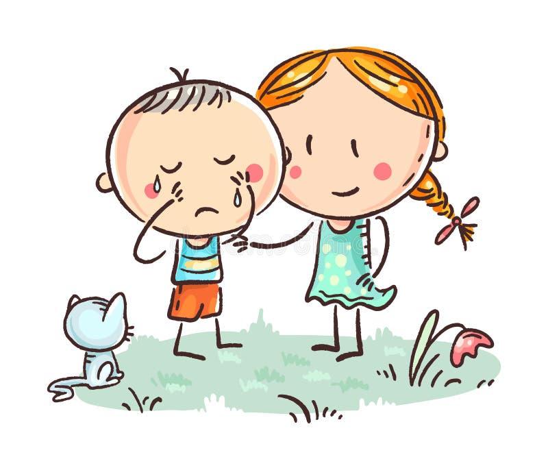 Petit pleurer d'un garçon et une fille le soulageant illustration libre de droits
