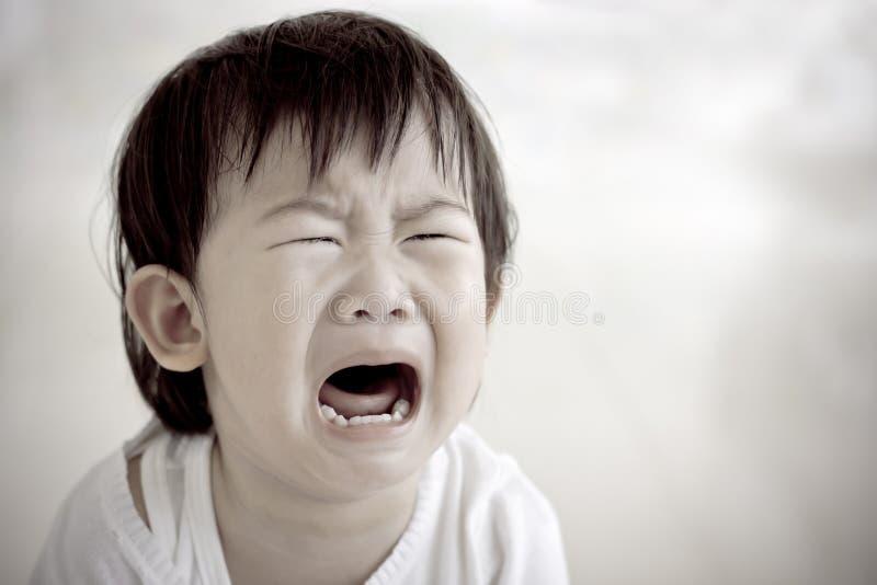 Petit pleurer (thaïlandais) asiatique de fille photo libre de droits