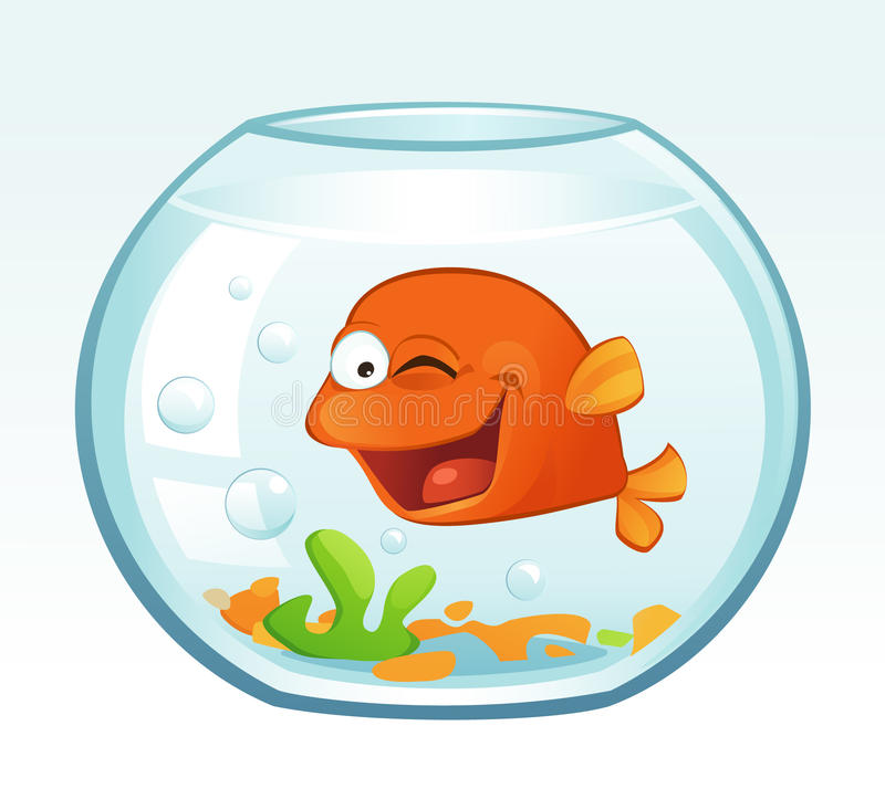 Petit poisson rouge (cligner de l'oeil) illustration stock