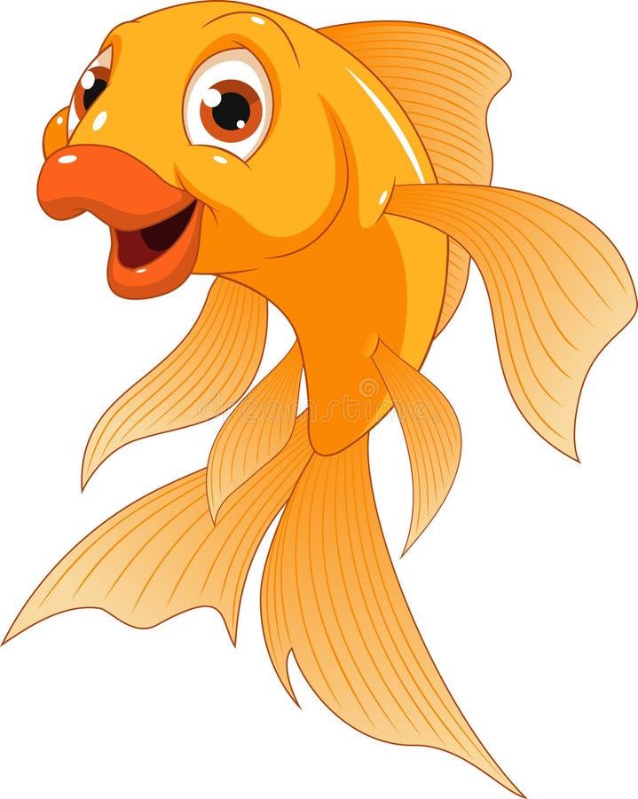 Petit poisson rouge drôle illustration stock