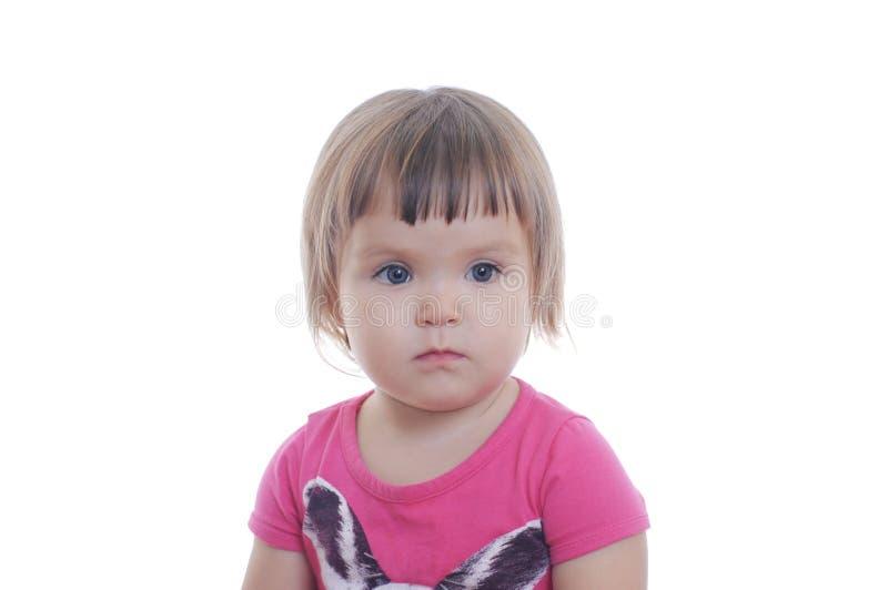 Petit portrait de bébé d'isolement sur le fond blanc visage adorable mignon d'enfant photos libres de droits