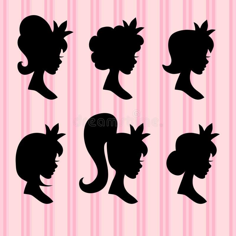Petit portrait de vecteur de princesses Visages de jeune fille avec des profils de noir de couronne illustration stock