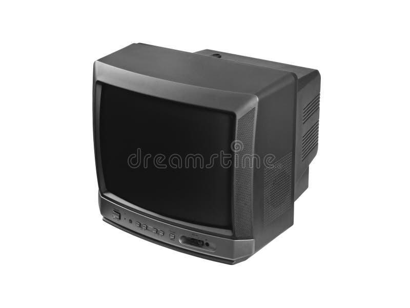Petit poste TV d'isolement à l'arrière-plan blanc images libres de droits