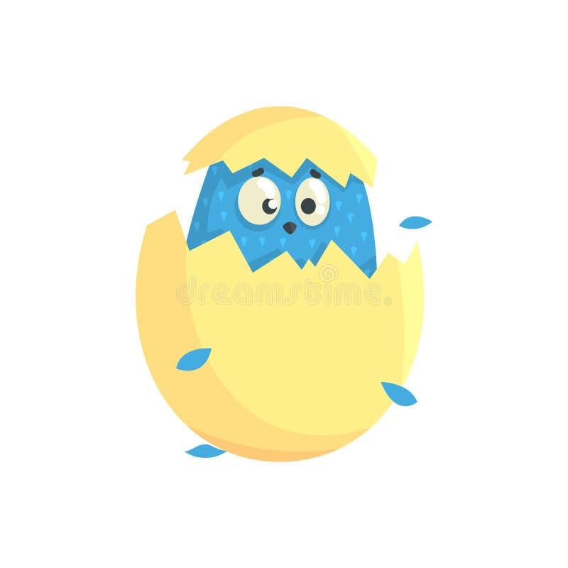 Petit poussin drôle bleu mignon dans l'illustration colorée de vecteur de caractère de coquille d'oeufs illustration libre de droits