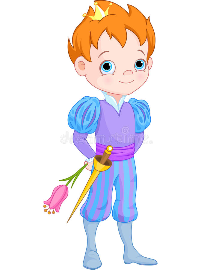 Petit prince mignon Holds Flower illustration stock
