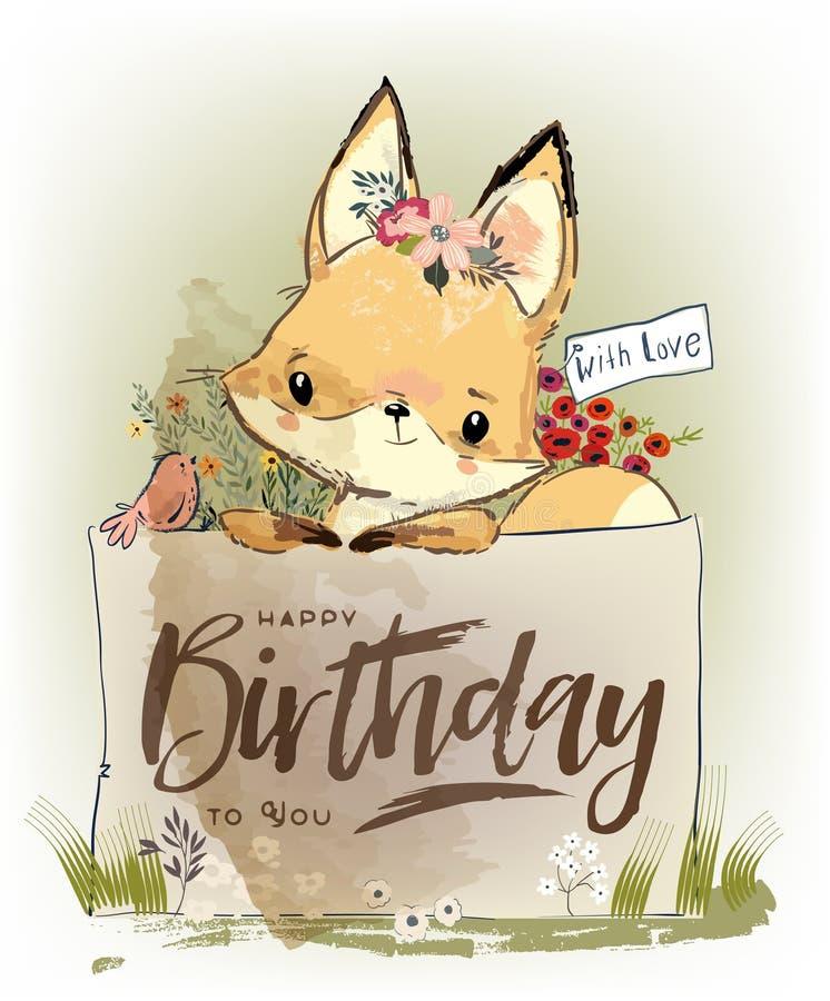 Petit renard avec des fleurs illustration stock