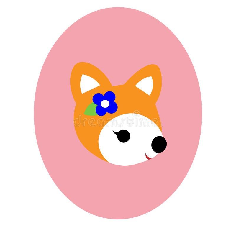 Petit renard avec une fleur images libres de droits