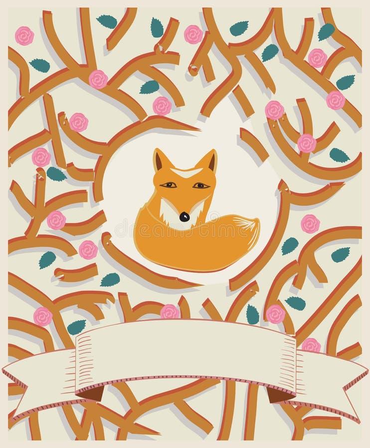 Petit renard dans un design de carte de forêt illustration stock