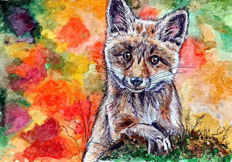 Petit renard de jeunes Portrait Aquarelle humide de peinture sur le papier Art naïf Aquarelle de dessin sur le papier illustration libre de droits