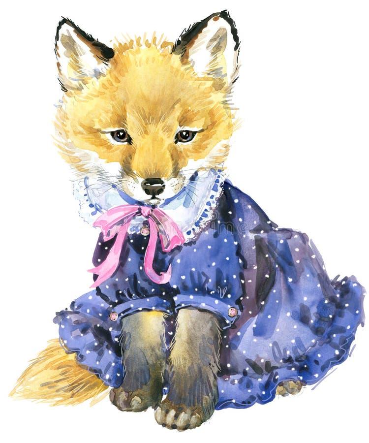 Petit renard mignon renard d 39 aquarelle illustration stock - Renard mignon ...