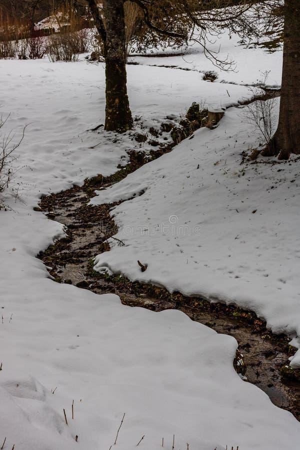 Petit ressort d'eau faisant la voie par le champ neigeux images stock