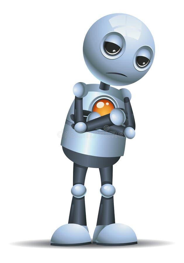 petit robot boudant dans une mauvaise humeur illustration stock