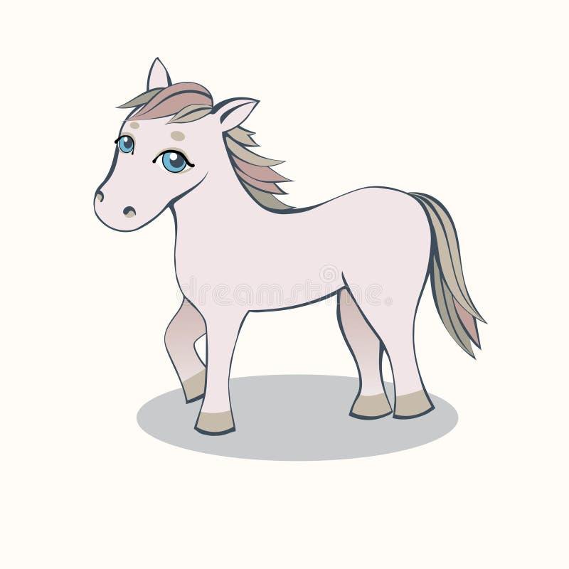 Petit rose de bande dessinée de cheval sur un fond clair illustration stock