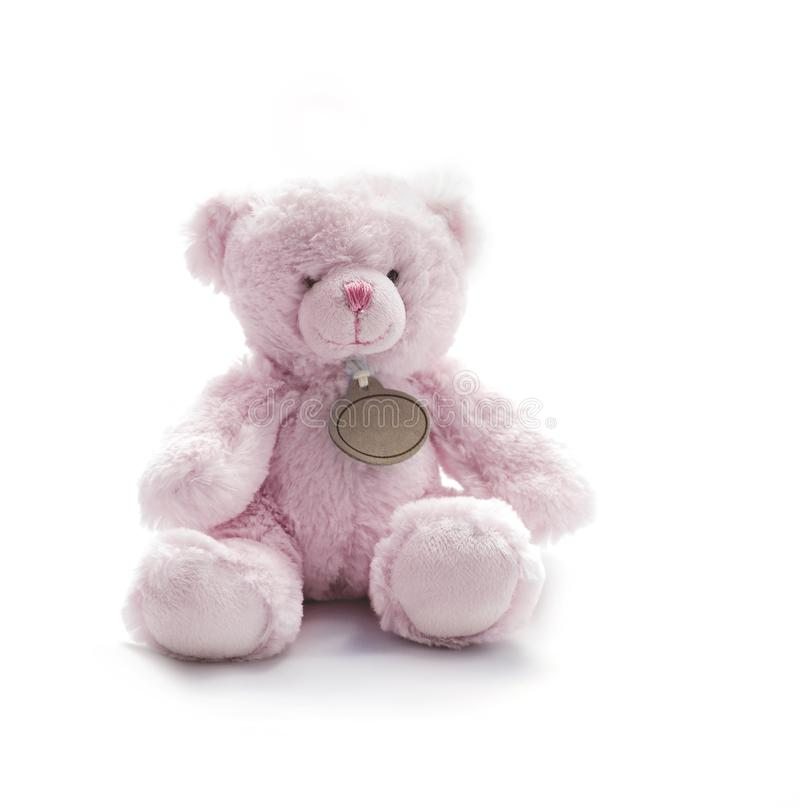 Petit rose Teddy Bear Toy sur le fond blanc photos stock