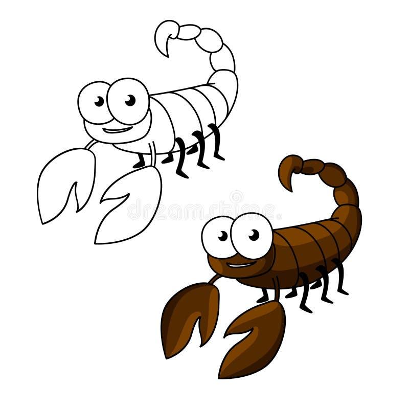 Petit scorpion drôle de brun de bande dessinée illustration de vecteur