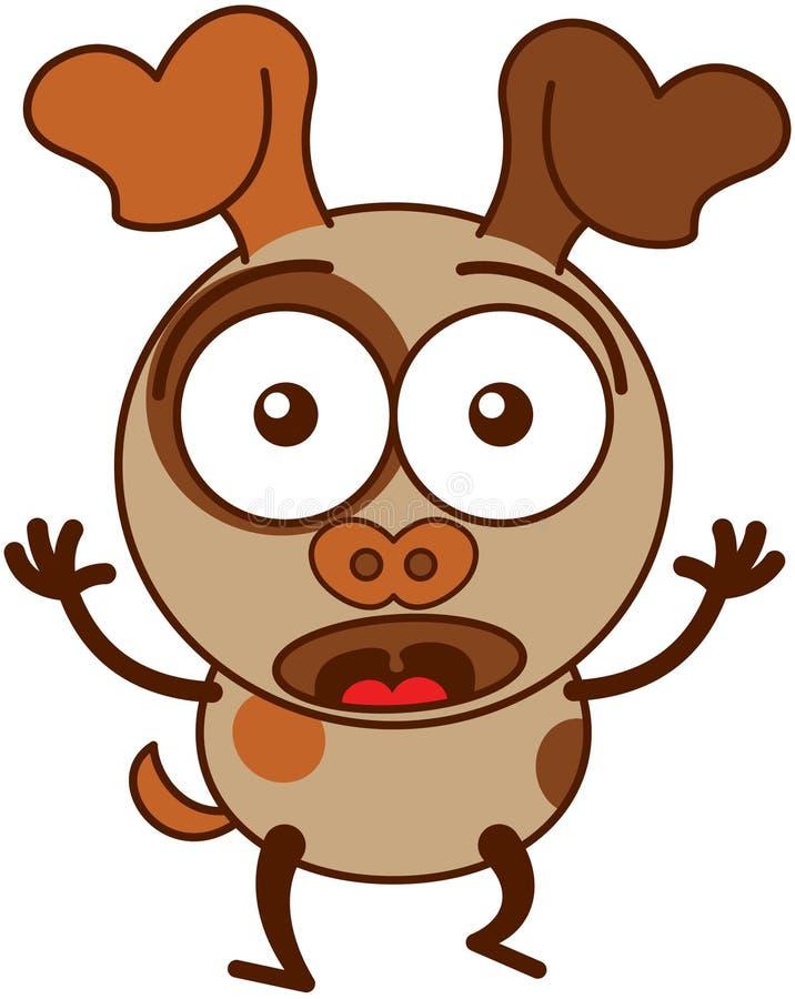 Petit sentiment brun de chien étonné et effrayé illustration de vecteur