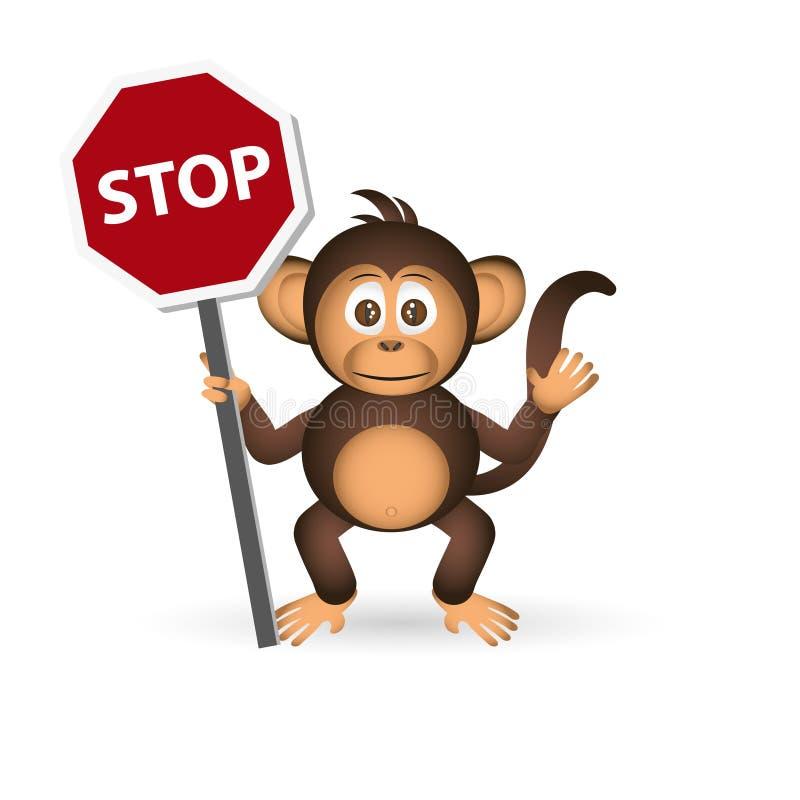 Petit signe eps10 d'arrêt de participation de singe de chimpanzé mignon illustration libre de droits