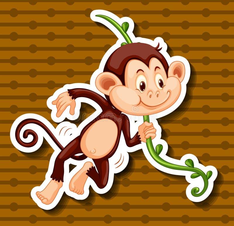 Petit singe accrochant sur la vigne illustration de vecteur