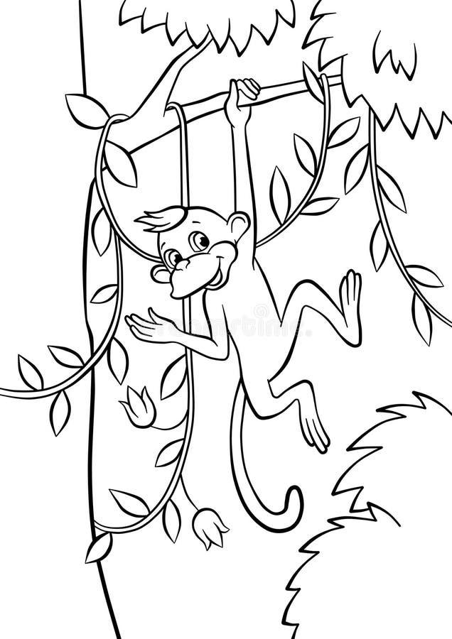 Petit singe balançant sur l'arbre illustration de vecteur