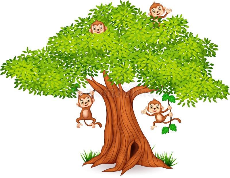 Petit singe heureux accrochant sur l'arbre illustration libre de droits