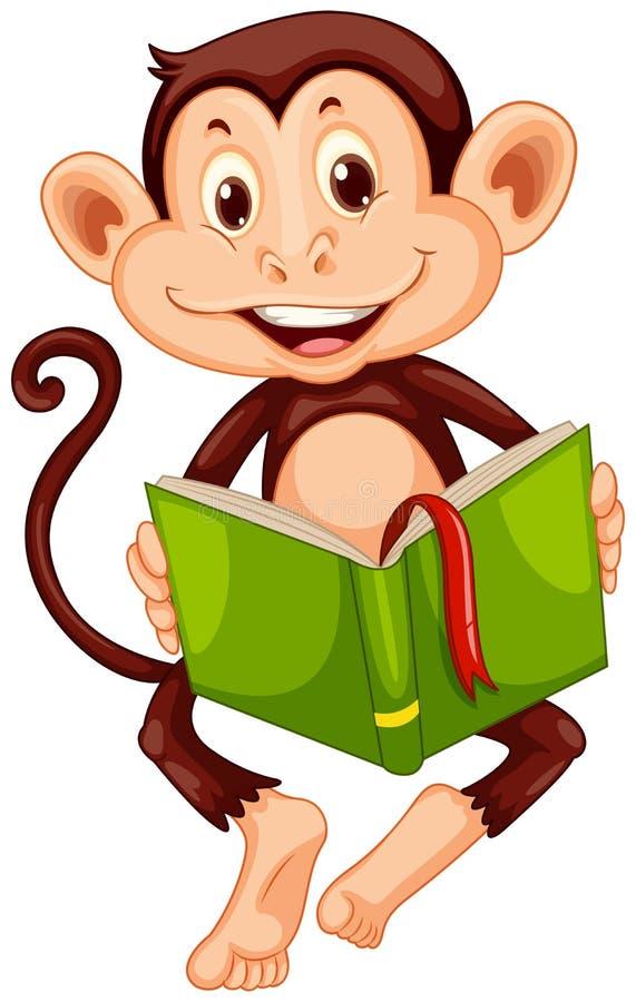 Petit singe lisant un livre illustration stock