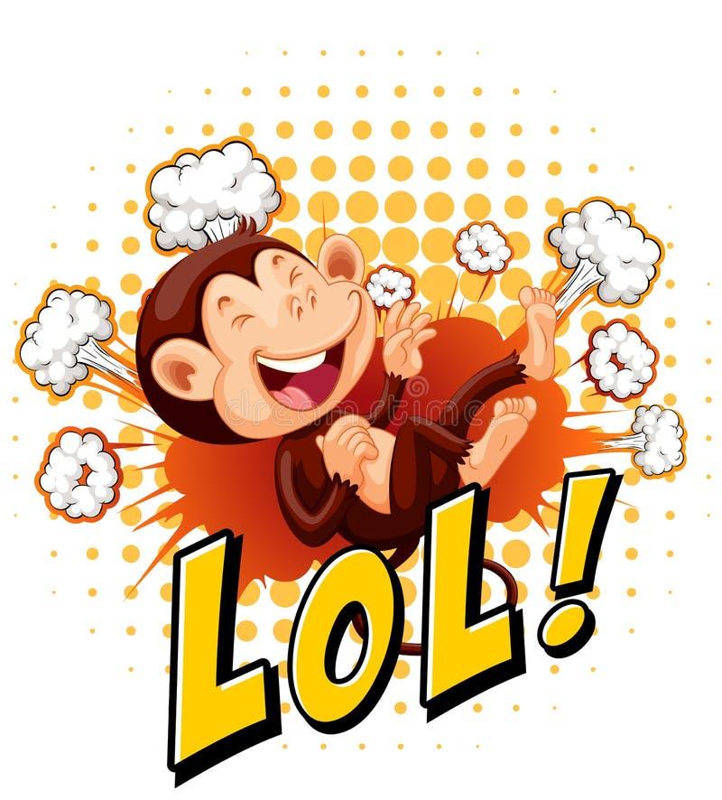 Petit singe riant sur le plancher illustration de vecteur