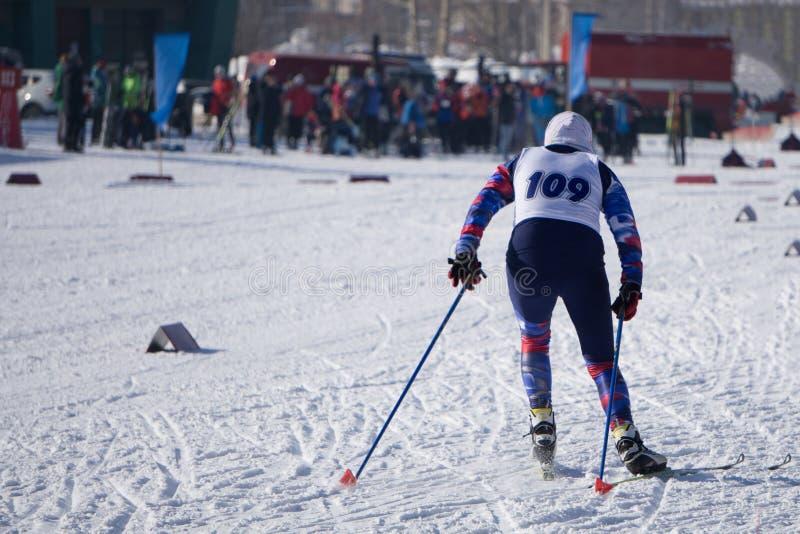 Petit skieur de sportive pendant une course dans la course classique de style en bois dans le championnat images libres de droits