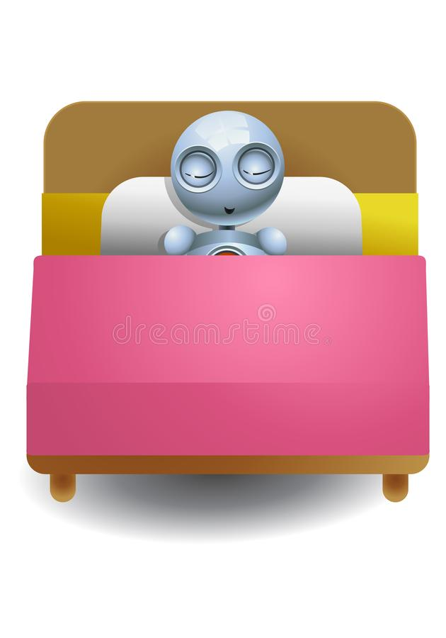 petit sommeil de robot fortement illustration stock