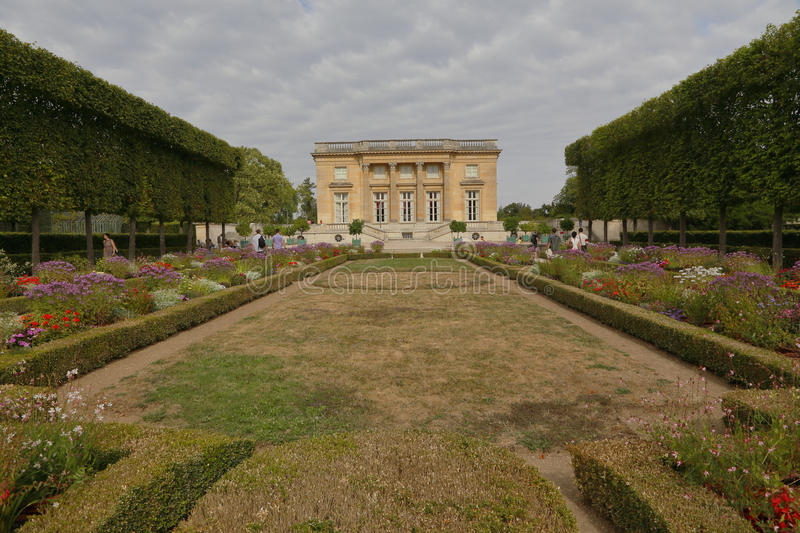 Petit Trianon Versailles, France. Built by Ange-Jacques Gabriel for Louis XV, 1762 - North Front featuring gardens - shot August 2. 015 royalty free stock images