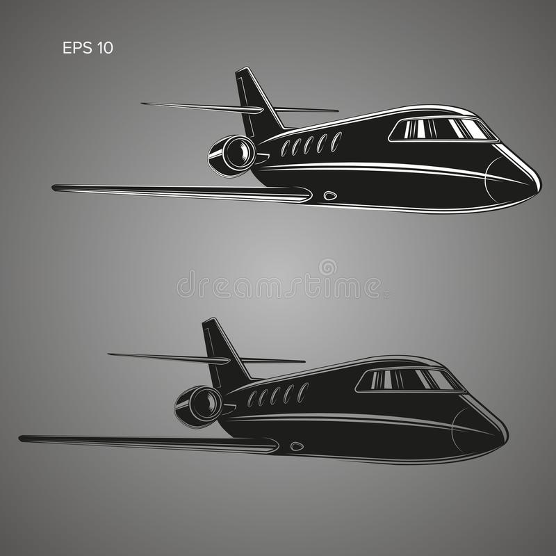 Petit vecteur de jet privé Illustration d'avion d'affaires Avion jumel de luxe de moteur illustration stock