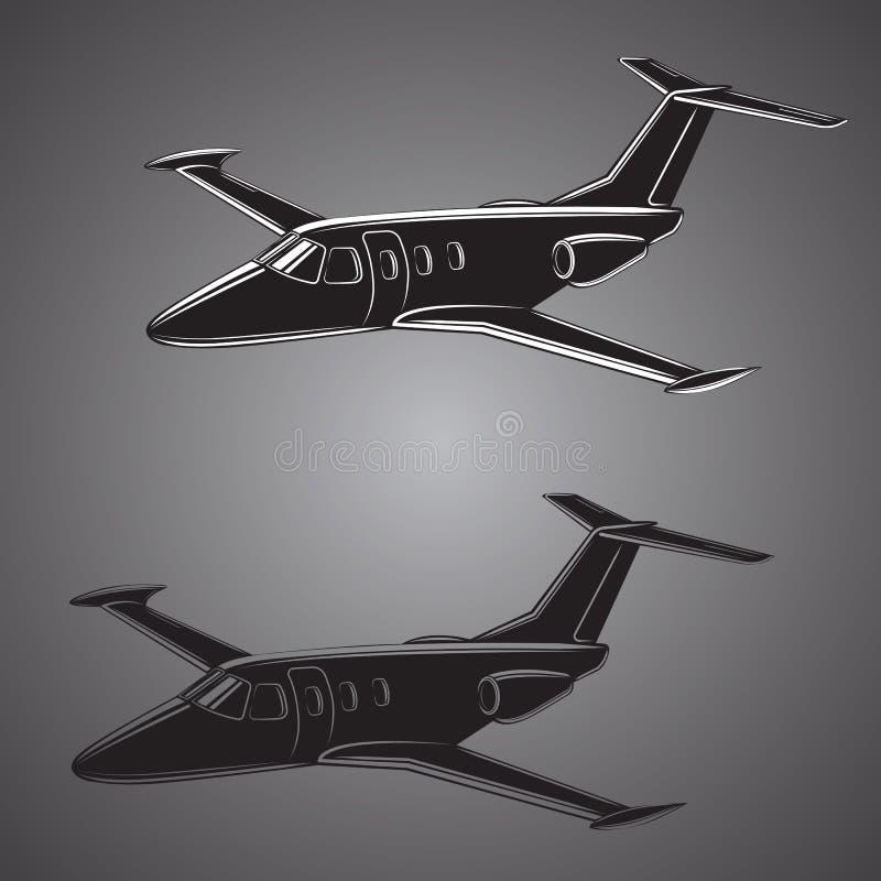 Petit vecteur de jet privé Illustration d'avion d'affaires Avion jumel de luxe de moteur illustration libre de droits